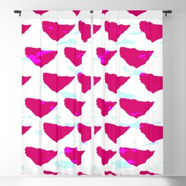 Geometrical abstract neon pink teal watercolor pattern Blackout Curtain
