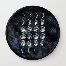 Luna - Moon Phases - Watercolor Wall Clock