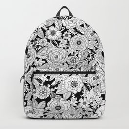 Black and White Floral Love Backpack