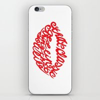 lip iPhone & iPod Skins featuring Red lip by saralucasi