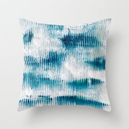 Schooled Fish in blue Throw Pillow