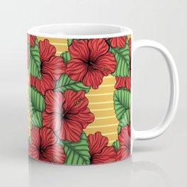 Hibiskcus and leaves, tropical pattern Coffee Mug