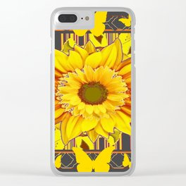 YELLOW BUTTERFLIES SUNFLOWER  CHARCOAL GREY Clear iPhone Case