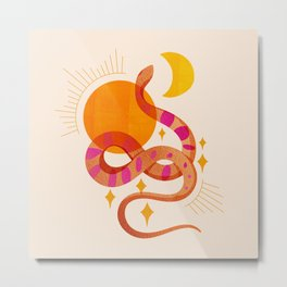 Abstraction_SUN_MOON_SNAKE_Minimalism_001 Metal Print
