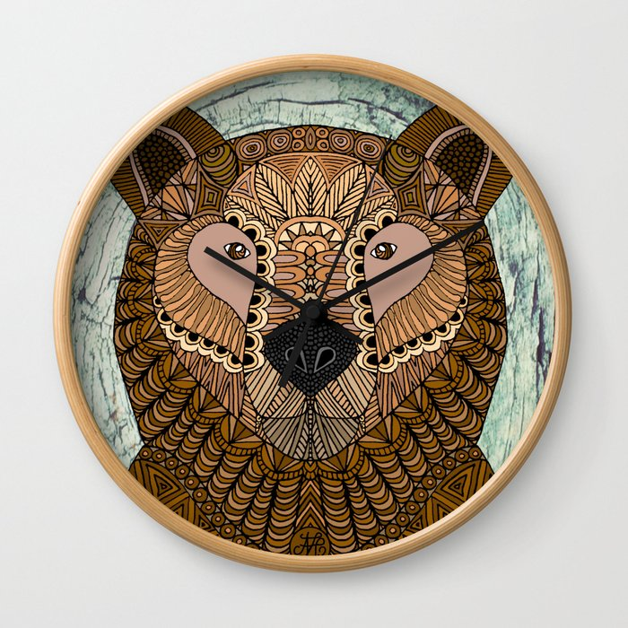 Ornate Brown Bear Wall Clock