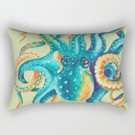 Octopus Teal Tentacles On Yellow Green Rectangular Pillow