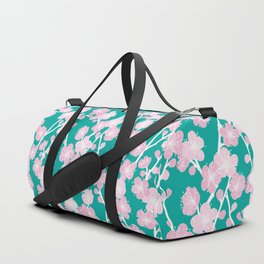 Green Cherry Blossoms Pattern Duffle Bag