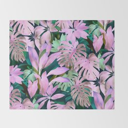 Tropical Night Magenta & Emerald Jungle Throw Blanket