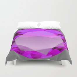 Decorative PURPLE FEBRUARY AMETHYST GEMSTONE  ON GREY Duvet Cover