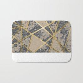 Black Modern Glitter Geo Gold Triangles Bath Mat