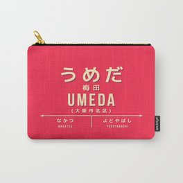 Vintage Japan Train Station Sign - Umeda Osaka Red Carry-All Pouch
