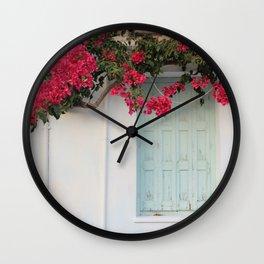 Greek Island Bougainvillea Wall Wall Clock