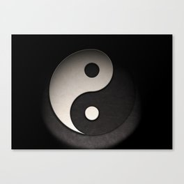 Yin Yang Symbol In Leather Texture Canvas Print