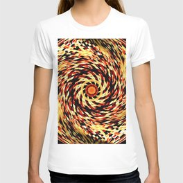 Red Black Yellow Kaleidoscopic Ball Circle T-shirt