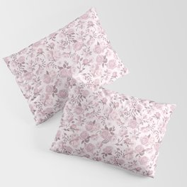 Shabby Chic Cottage Pink Roses Girly Cottage Chic Floral Print French Country Flowers Romantic Polka Dots and Roses Vintage Pattern Design Blush Pink Pillow Sham