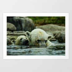 Pole Bears Mother and Little one Art Print