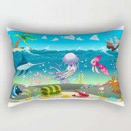Funny scene under the sea. Rectangular Pillow