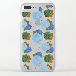 Blue green watercolor hydrangea flowers polka dots Clear iPhone Case