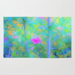 Pink Rose of Sharon Impressionistic Blue Landscape Garden Rug