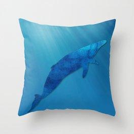 Blue Whale, Minimalist, Sea Life, Coastal Art  Throw Pillow