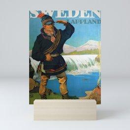retro poster Sweden Lappland Sami Mini Art Print