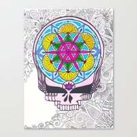 grateful dead Canvas Prints featuring Grateful Dead Sacred Geometry Stealie by Gracie Holder