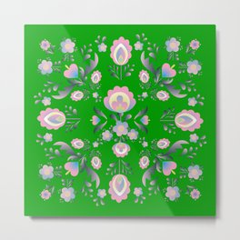 Folk Flowers in Green and Pink Metal Print