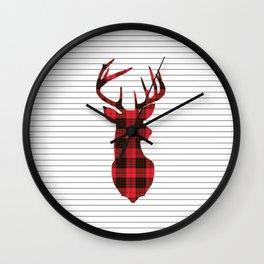 Plaid Deer Head on Minimal Stripes Wall Clock