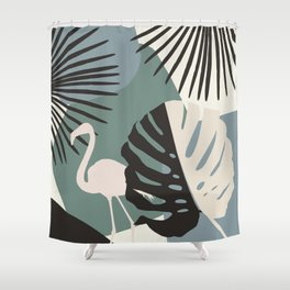 Minimal Flamingo Monstera Fan Palm Finesse #1 #tropical #decor #art #society6 Shower Curtain