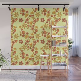 Physalis on light yellow background Wall Mural