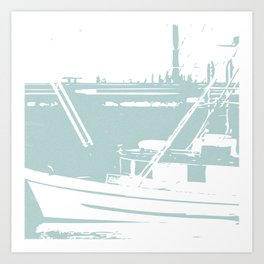 Sailboat in White and Pastel Blue Art Print