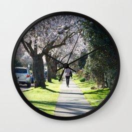 Cherry Blossom Sidewalk Wall Clock