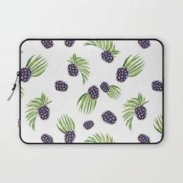 Hand painted black green watercolor fruity blackberries Laptop Sleeve