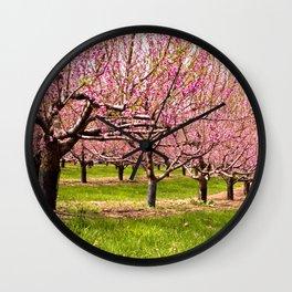 Pink Flowering Trees Wall Clock