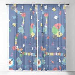 Board Game Pattern Sheer Curtain