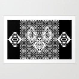 Black White Aztec 2 Art Print