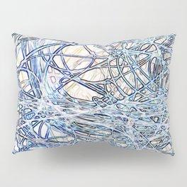 White Abstract Neon Nylon String Pattern Pillow Sham