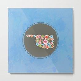 Oklahoma Watercolor Flowers on Blue Metal Print