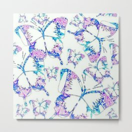 Electric blue, pink and white mandala exo butterfly Metal Print