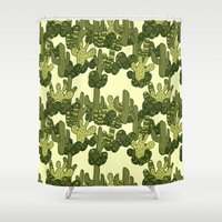 cacti Shower Curtains featuring Cacti by Lburleighdesigns