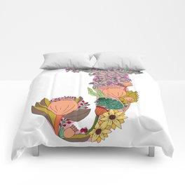 Floral Letter J Comforters