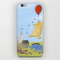 pooh iPhone & iPod Skins featuring Winnie the Pooh by Marilyn Rose Ortega