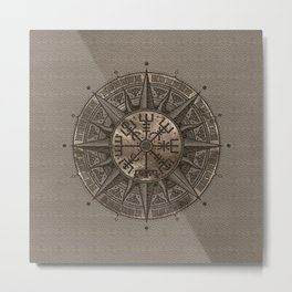 Vegvisir - Viking Compass - Beige Leather and gold Metal Print