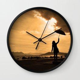 Rainy port Wall Clock