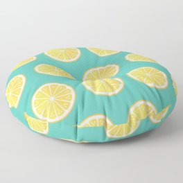 Lemons on green Floor Pillow