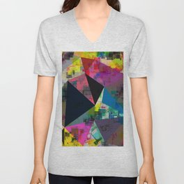 psychedelic geometric triangle pattern abstract with painting abstract background in pink blue yello Unisex V-Neck
