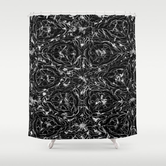 Black and white astral paint 5020 Shower Curtain