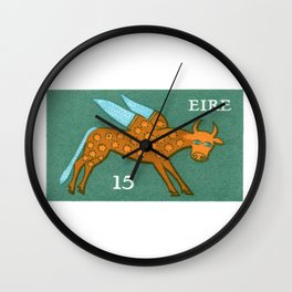 1975 IRELAND Winged Ox Postage Stamp Wall Clock