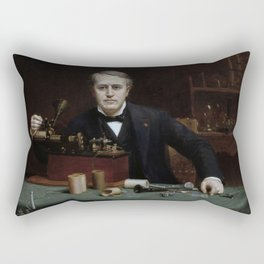Thomas Edison in his Laboratory Rectangular Pillow