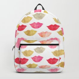 Pink Gold Red Watercolor Lips Backpack